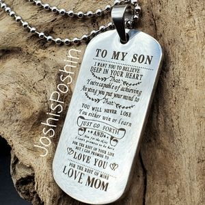 To my son, love mom steel necklace